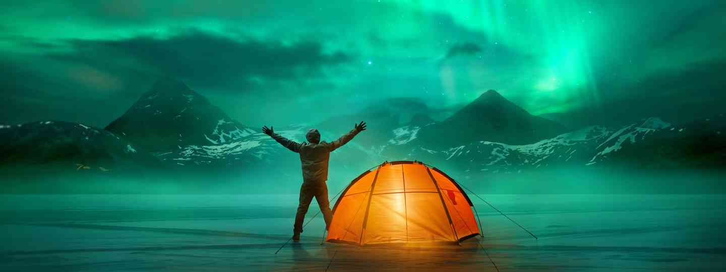 Camping under the Lights (Dreamstime