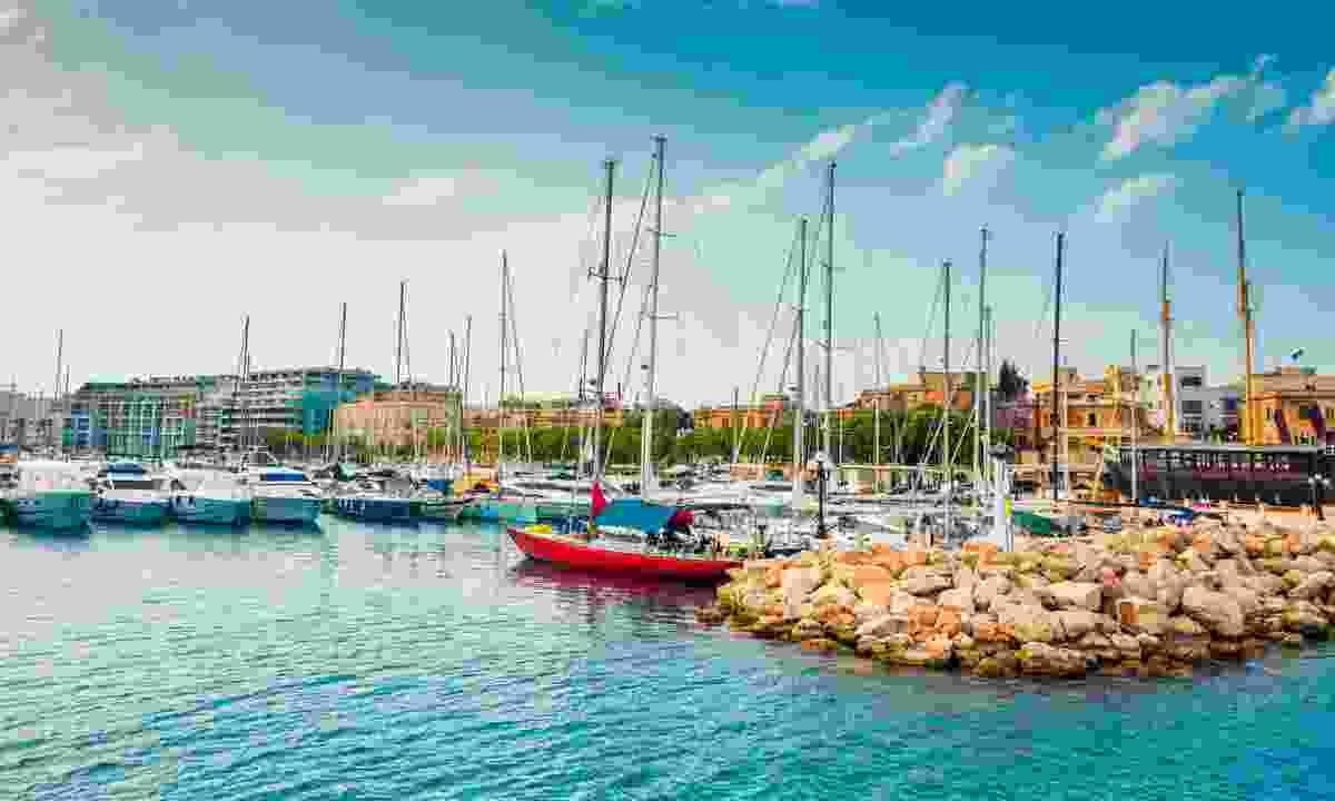 Yachts on pier of Ta`Xbiex (Dreamstime)