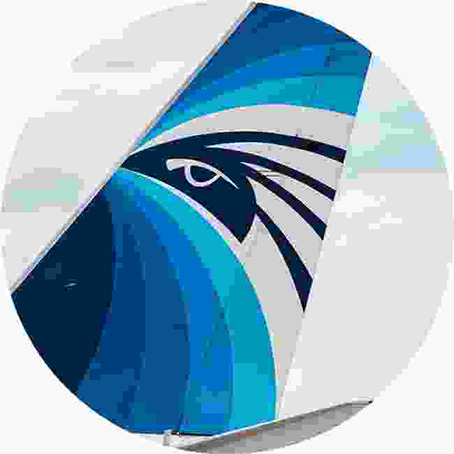 Horus, the sky deity in ancient Egyptian mythology, graces the tail fins of Egypt Air (Shutterstock)
