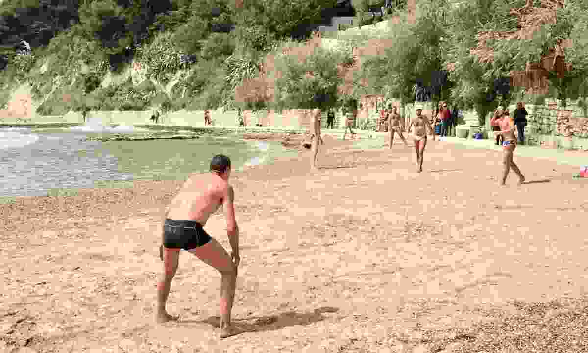 Locals playing handball on the beach at Ovčice (Peter Moore)