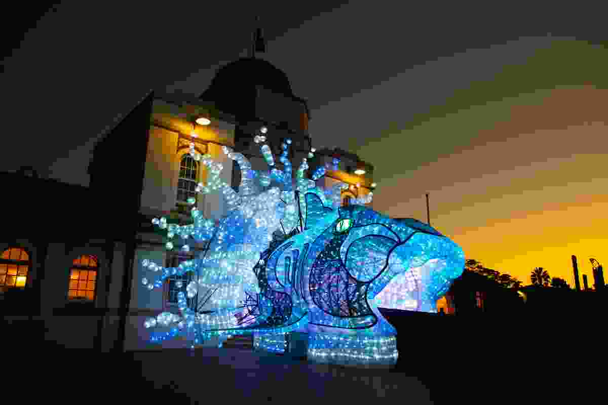 Illuminated entrance to Taronga Zoo (VividSydney)