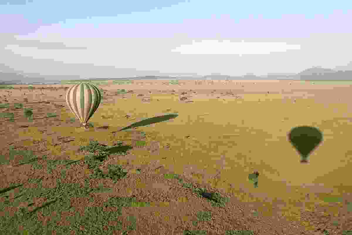 Hot air balloon flying over Serengeti NP (Dreamstime)