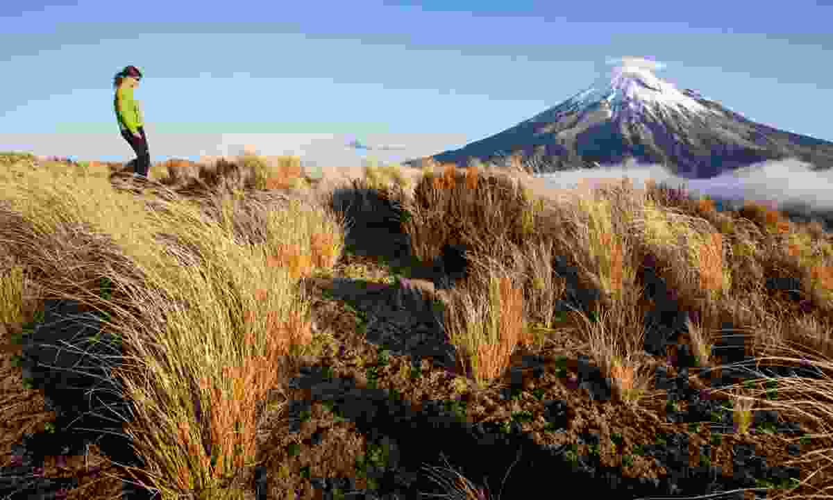 Girl trekking near Taranaki (Shutterstock)