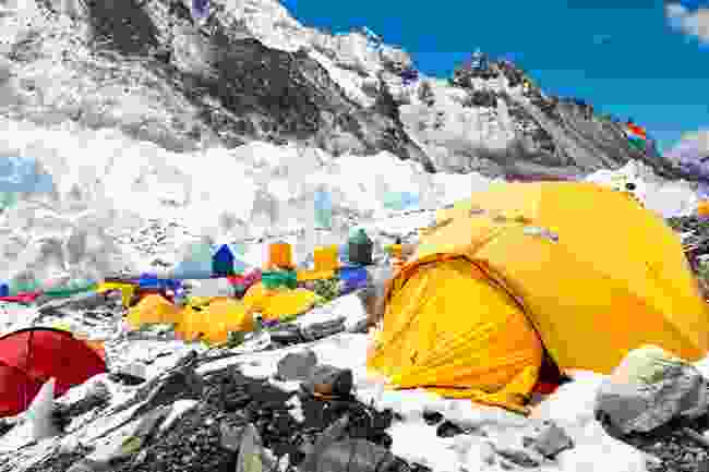 Yellow tents dot along Everest Base Camp (Shutterstock)