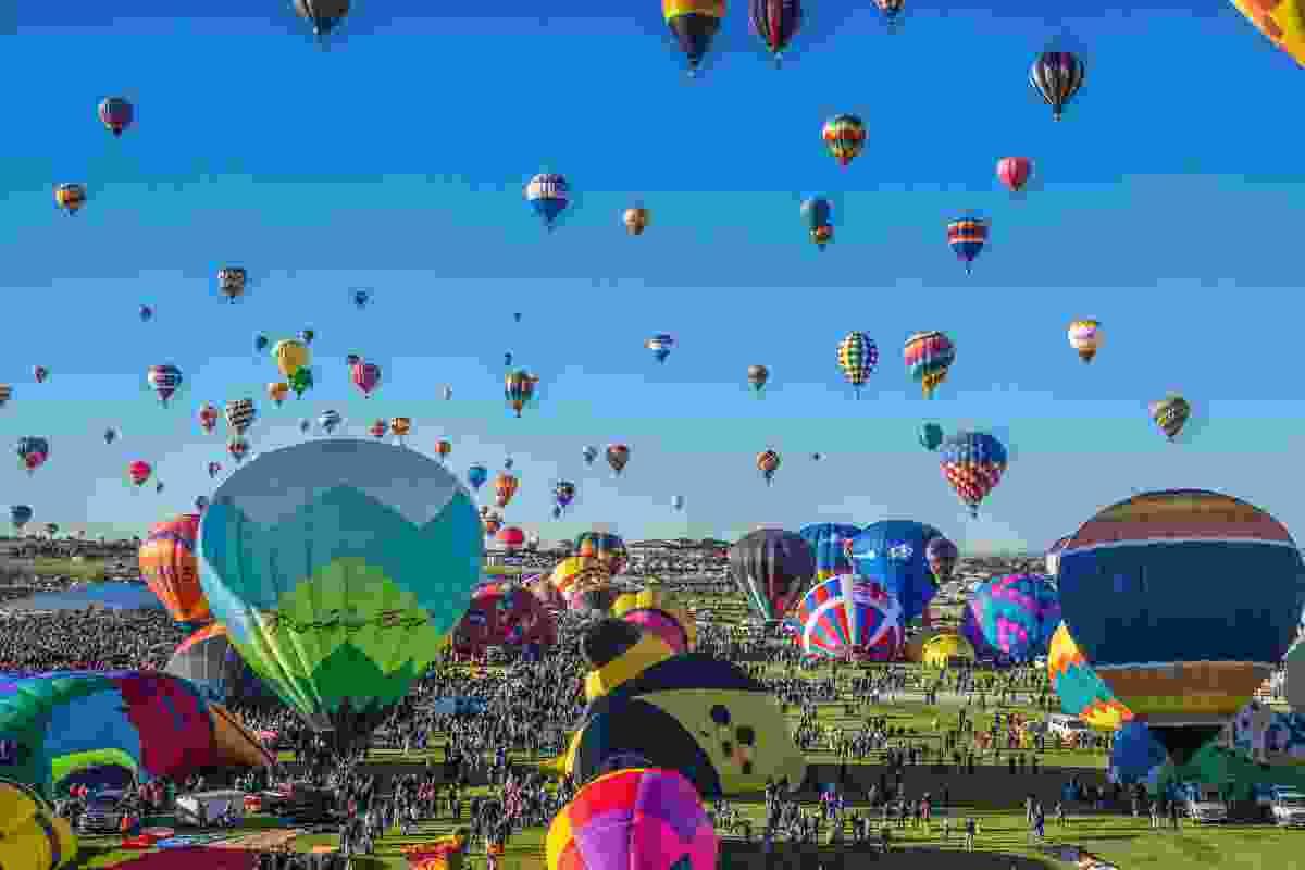 Balloons ascend above Albuquerque, New Mexico, USA (Shutterstock)