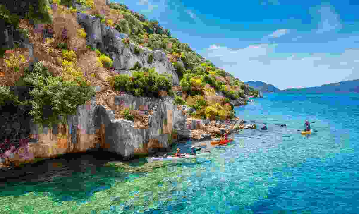 Kayaking along the Turkish coast (Shutterstock)