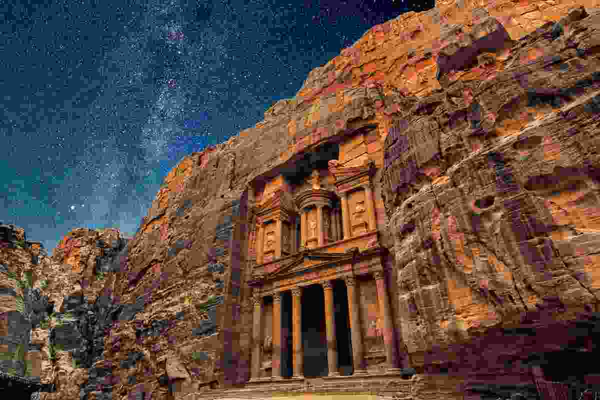 Ancient Petra at night, Jordan (Dreamstime)