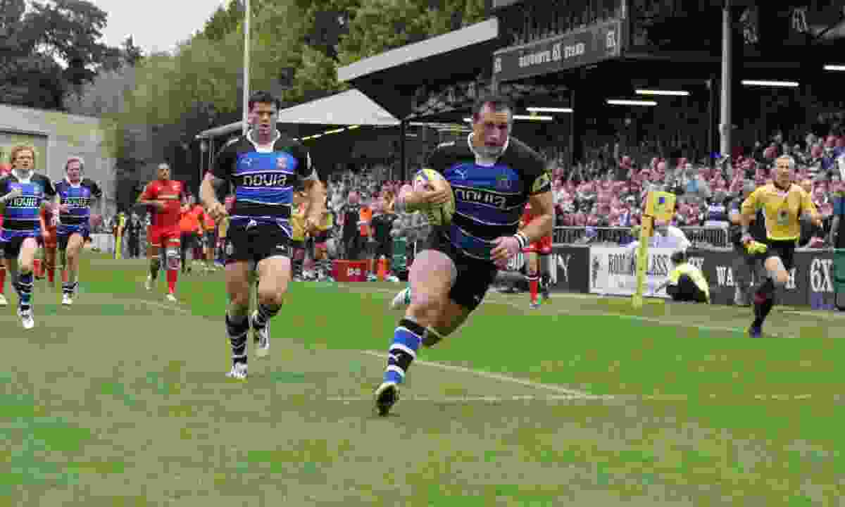 Carl Fearns scoring a try at The Rec (Dreamstime)