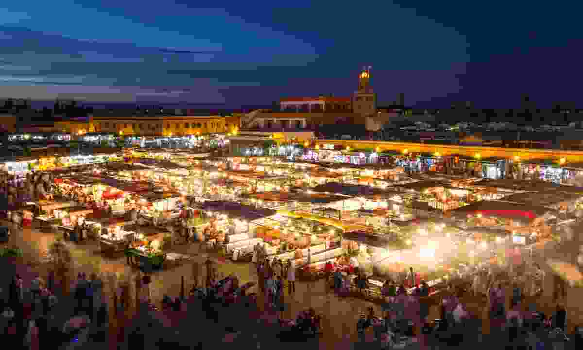 Djemaa El Fna at dusk, Marrakech (Dreamstime)