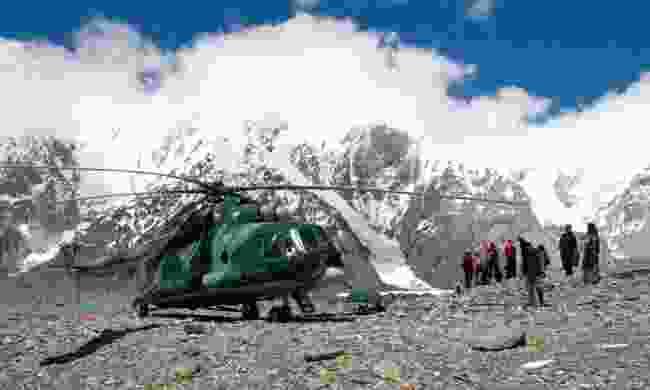 Helicopter at Khan Tengri Basecamp (Lyn Hughes)