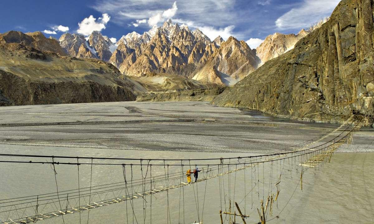 Footbridge along the Karakoram Highway (Wild Frontiers)