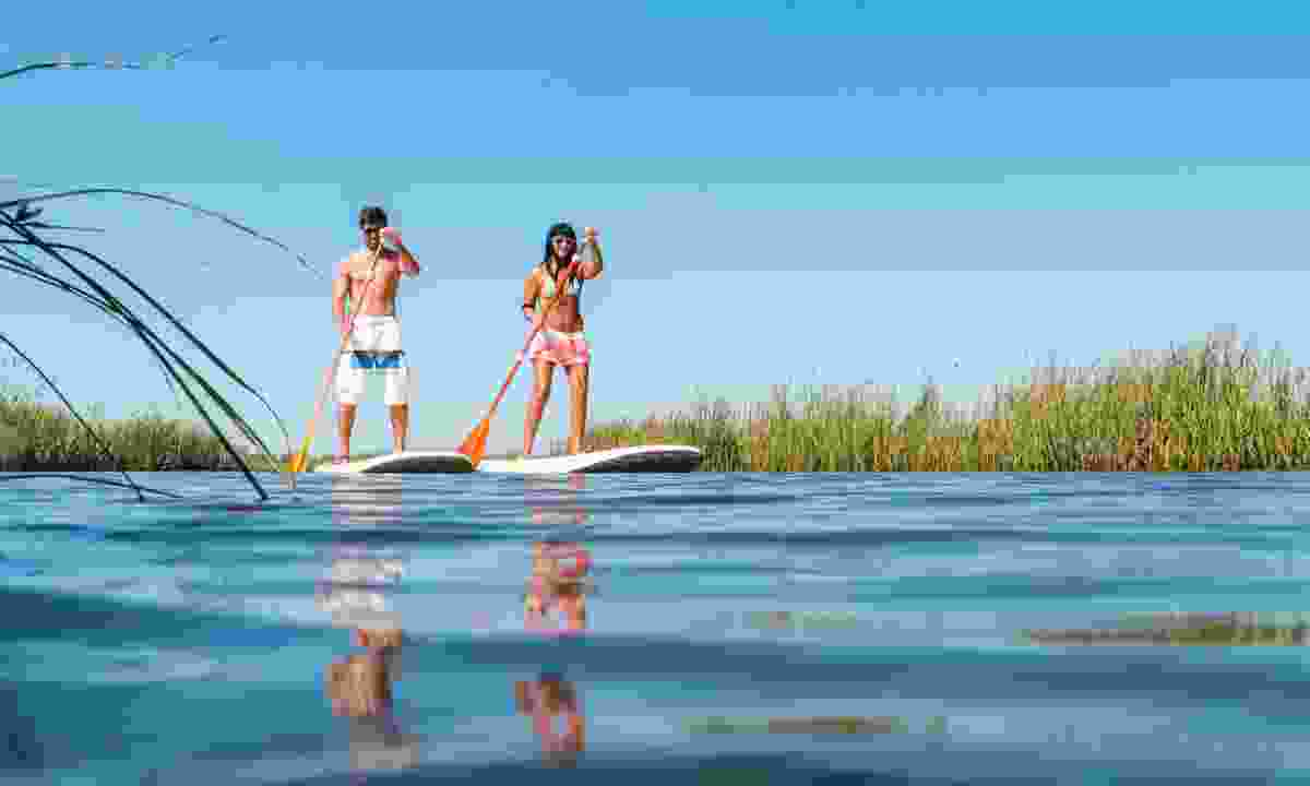 A couple paddleboarding in Honduras (Dreamstime)