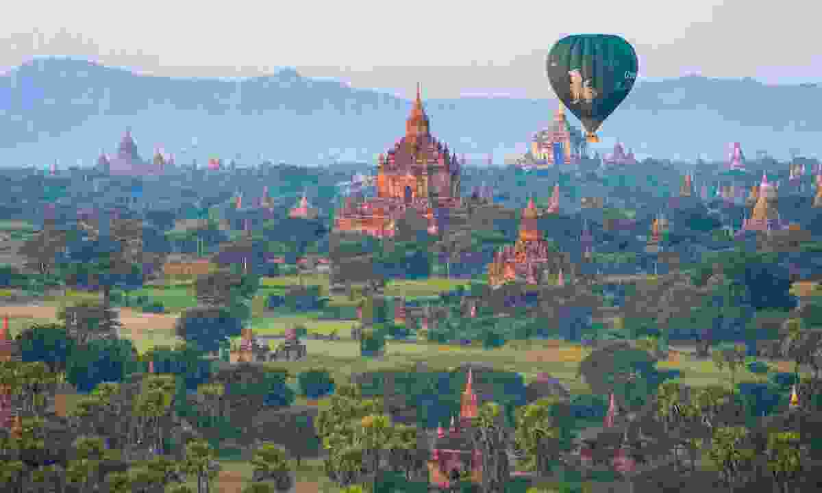 Hot air balloon over Bagan (Dreamstime)