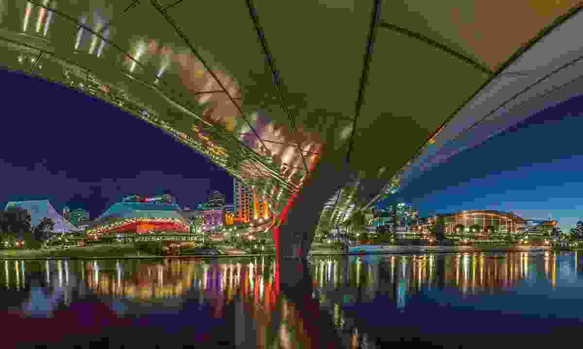 The view from beneath Adelaide footbridge