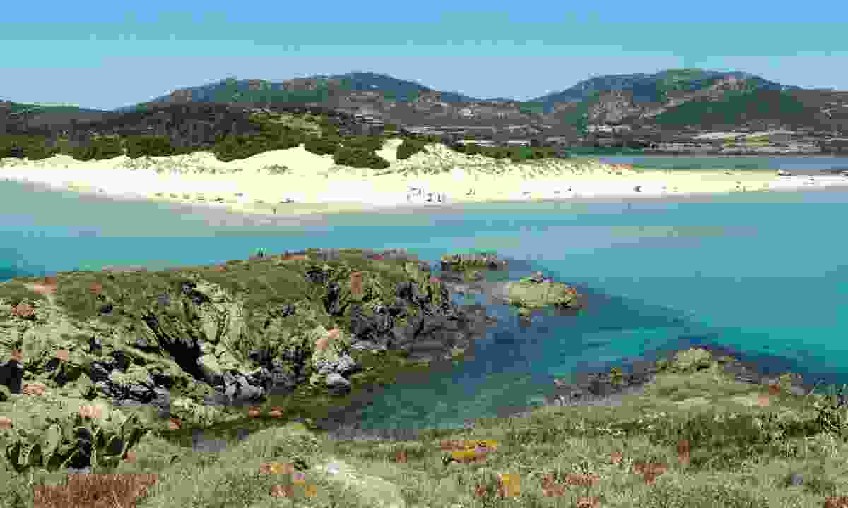 Looking toward Chia Beach in southern Sardinia (Dreamstime)