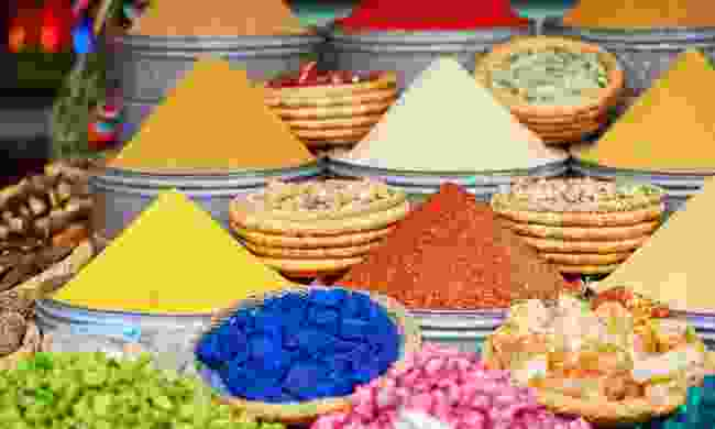Selection of spices in a Marrakech market (Dreamstime)