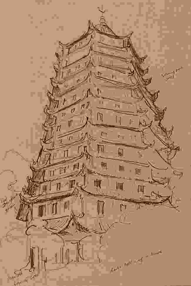 The Liuhe Pagoda in Hangzhou, drawn in reed pen over pastel crayon (Martin Yeoman)