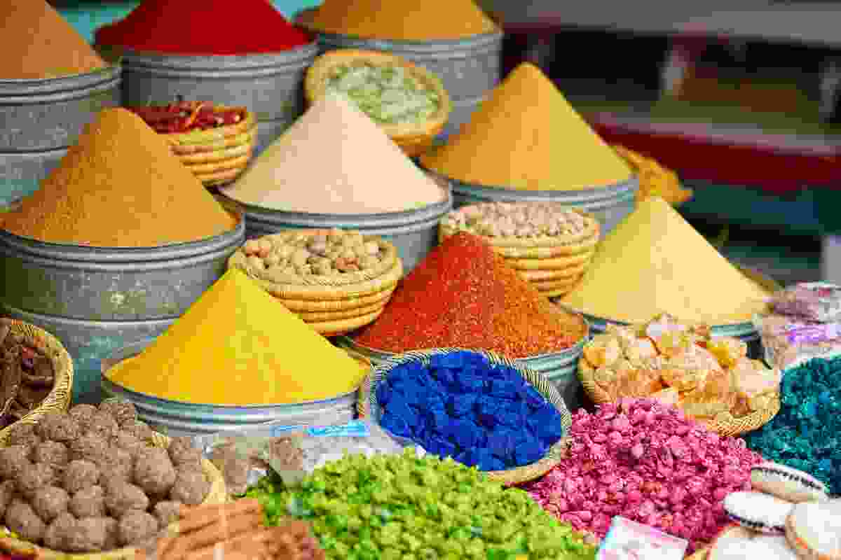 Selection of spices on a traditional Moroccan market (souk) in Marrakech, Morocco (Shutterstock)