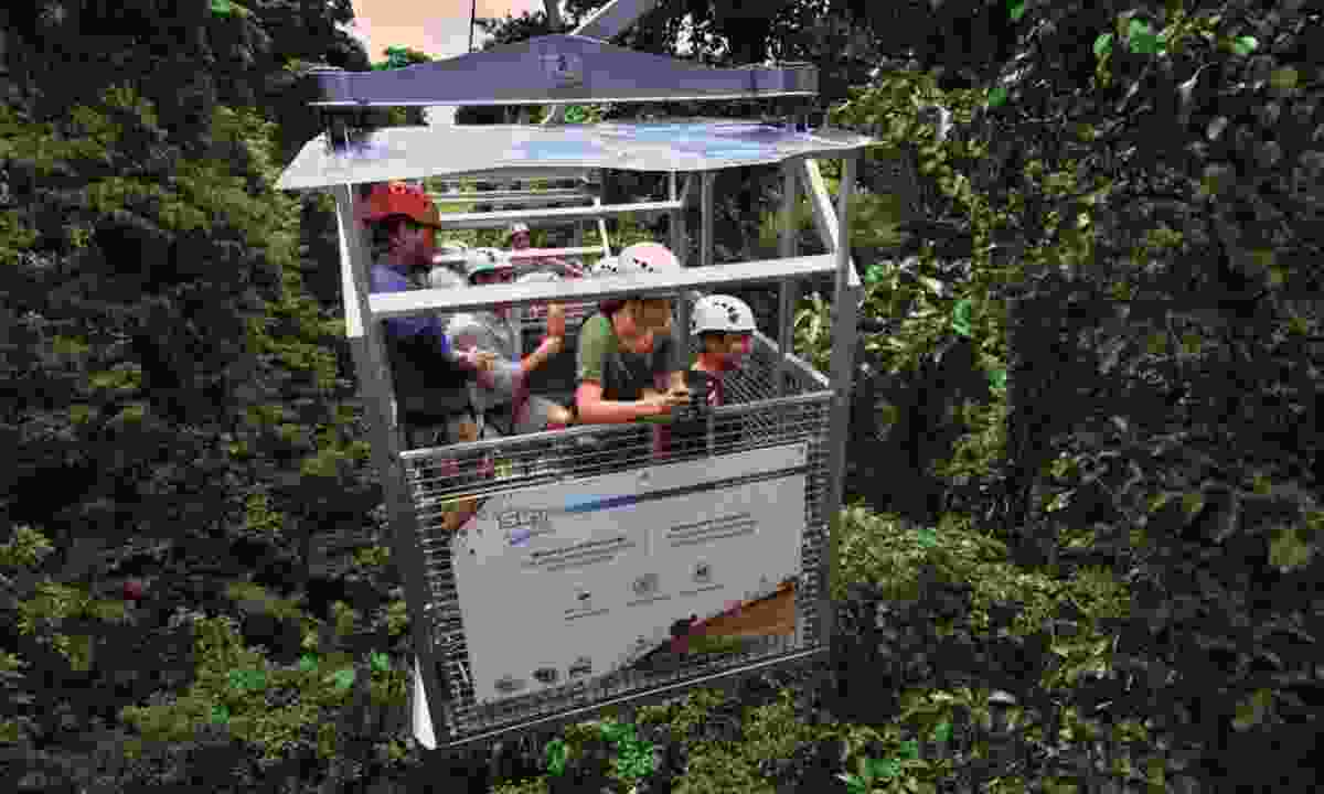 Riding the canopy tram in Costa Rica (Rainbow Tours)