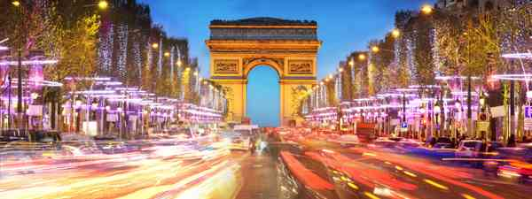 The Arc de Triomphe and the Champs-Élysées at sunset (Dreamstime)