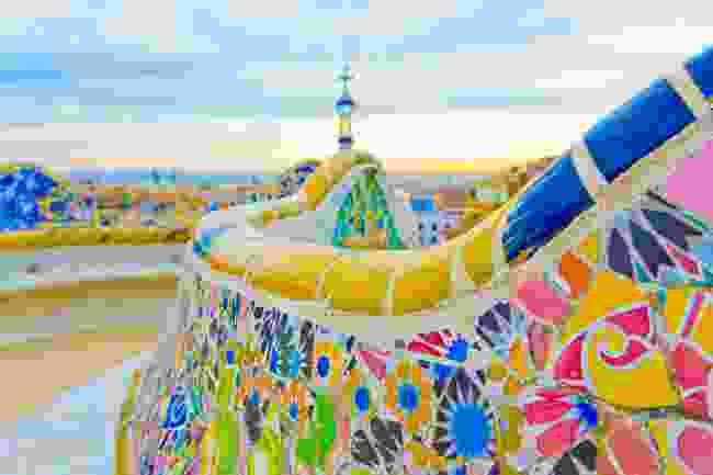 Colourful ceramic bench at Parc Güell (Shutterstock)
