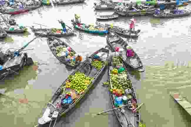 The Mekong River's famous floating markets (Shutterstock)