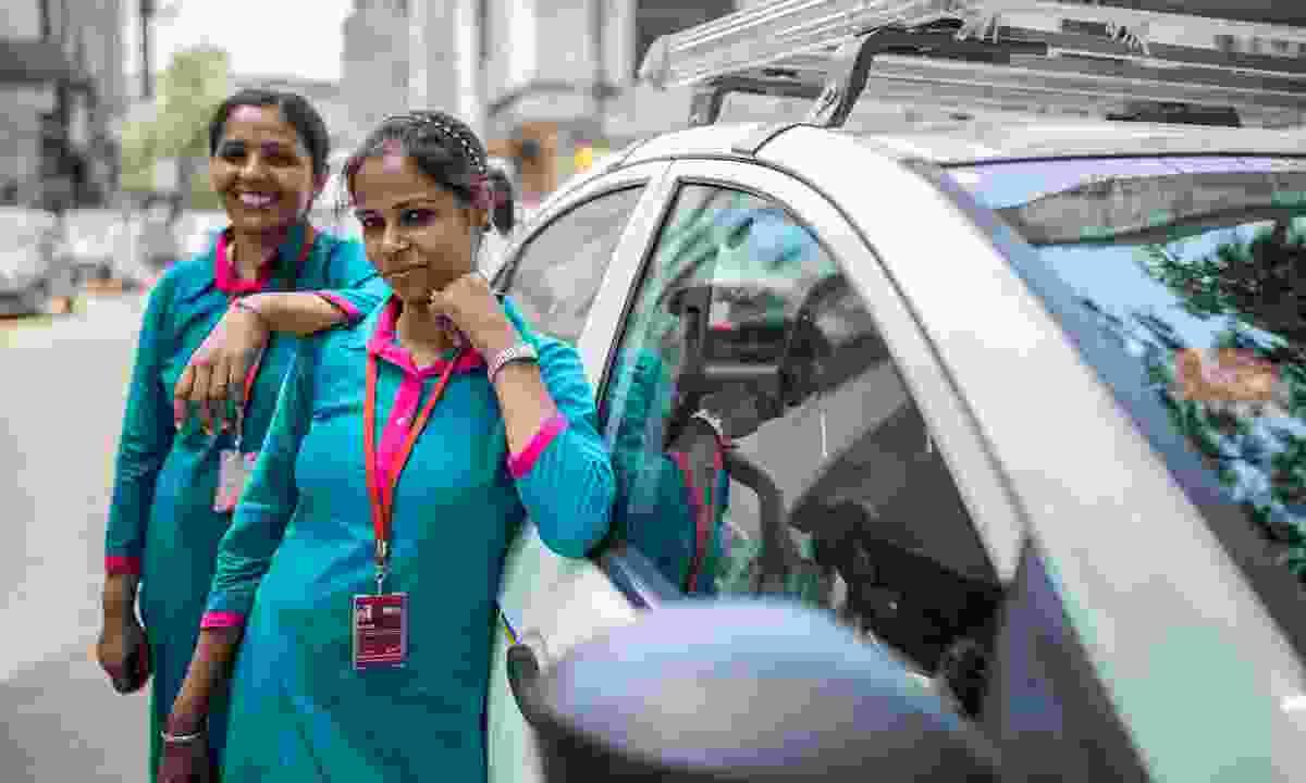 India New Delhi Women on Wheels drivers (G Adventures)