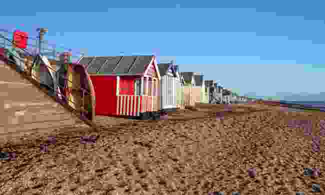 Beach huts on Thorpe beach in Southend (Shutterstock)
