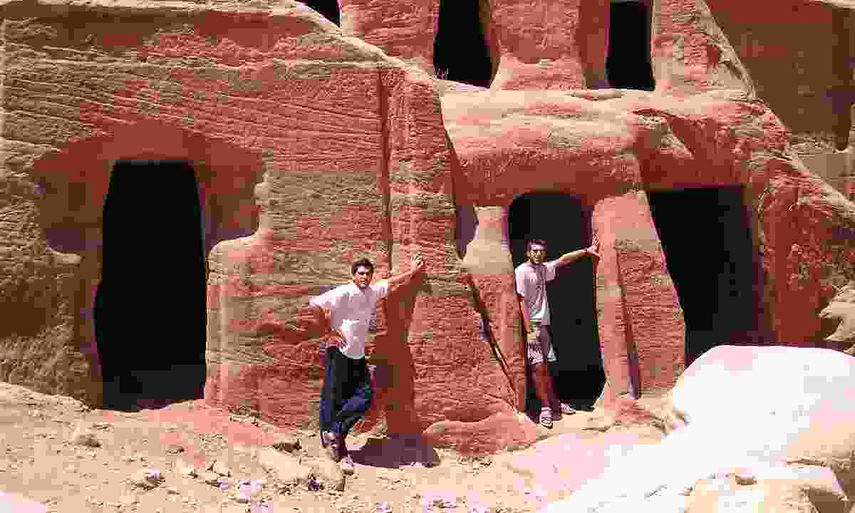 Levison Wood aged 21 with Alex Coutselous in Petra (Levison Wood)