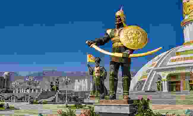 See the blingy statues guarding Ashgabat's monuments of independence (Shutterstock)