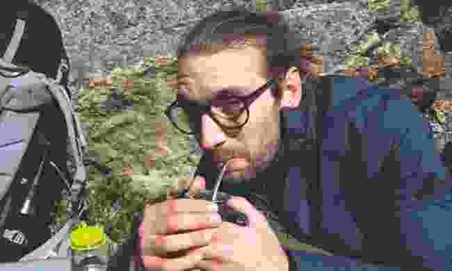 Trying yerba mate - green tea (Chris Moss)