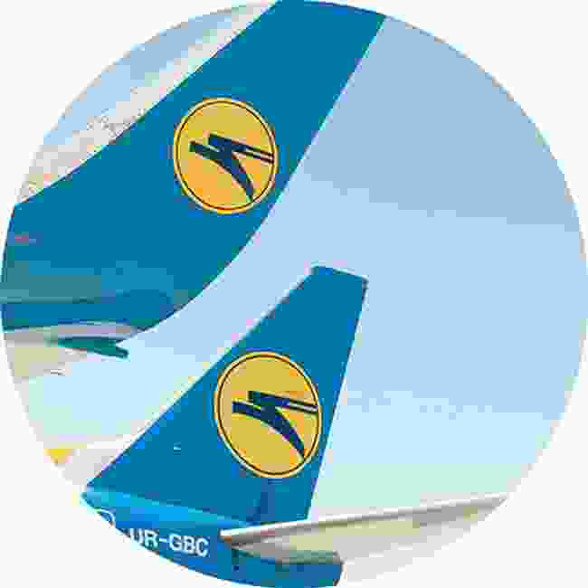 The Ukraine International Airlines logo. Is it a bird? Or a flying rabbit? You be the judge (Shutterstock)