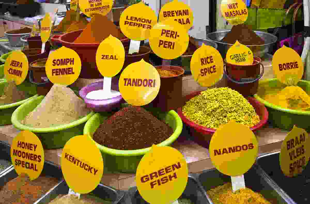 Spices on display at  Durban's Victoria Street Market (Dreamstime)