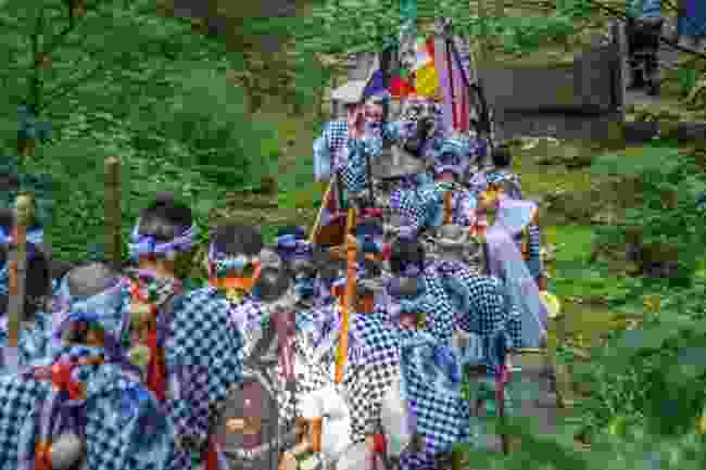 Yamabushi priests arriving to Mt Haguro, one of the three sacred Dewa mountains (Shutterstock)