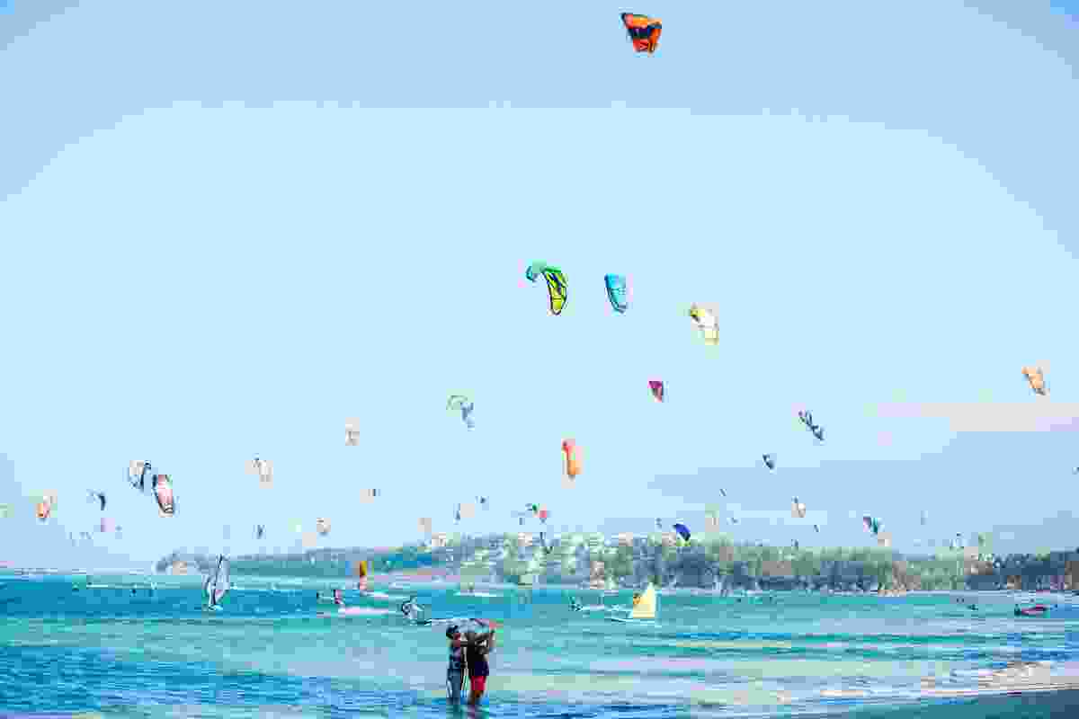 An abundance of kites dot the sky above Bulabog Beach, Boracay, in 2016 (Shutterstock)