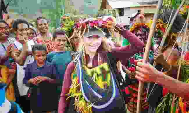 Tania receiving a warm welcome in Papua New Guinea (c/o Tania Esteban)