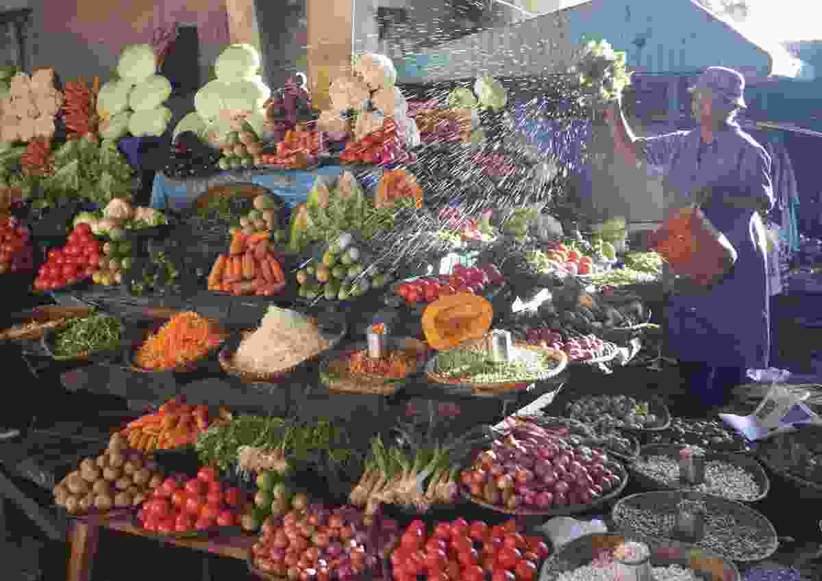 Fresh vegetables on display at a Madagascan market (Andrew Lambert)