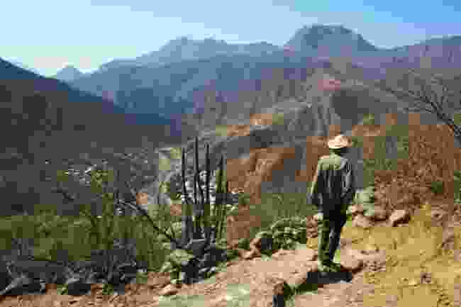 Silver miner walking through Mexico's Copper Canyon (Graeme Green)