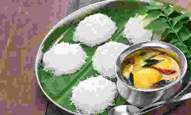 Idiyappam with egg curry (Dreamstime)