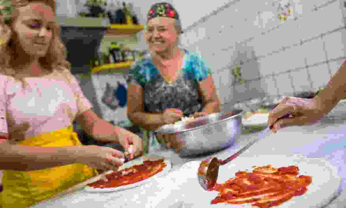 Making pizza in Naples (G Adventures)