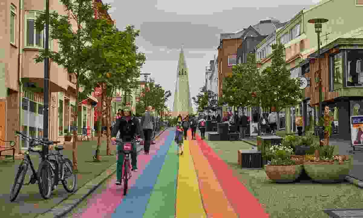 Skólavörðustígur street in Reykjavik during Pride (Shutterstock)