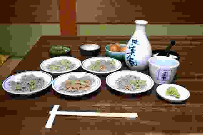 Soba is served in sets of five in Toyooka