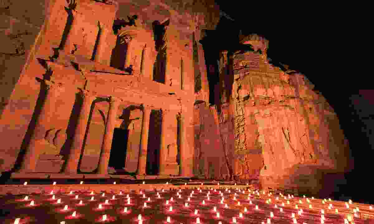 The candle-lit Treasury at Petra (Dreamstime)