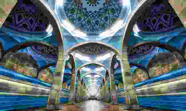 The symmetrical architecture of Central Tashkent's metro station (Shutterstock)