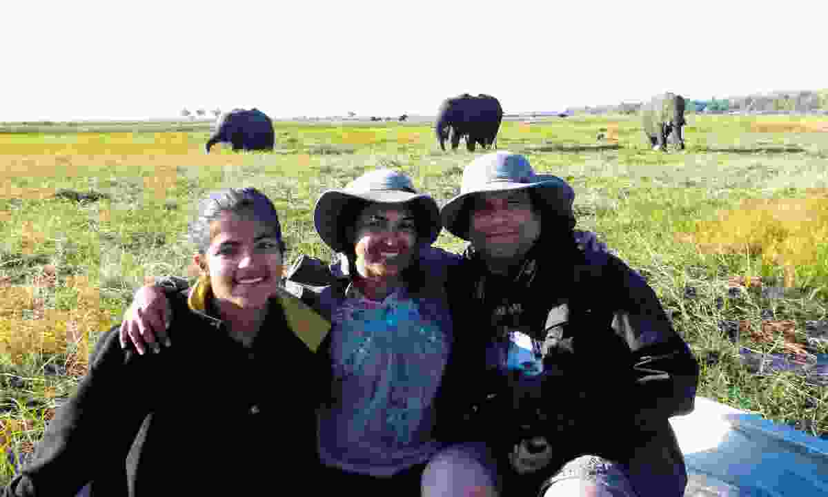 The Chakraborty family volunteering in Botswana
