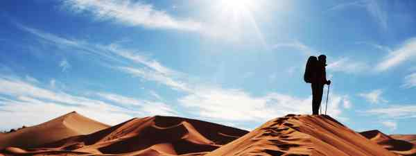 Man looking out across the desert (Dreamstime)