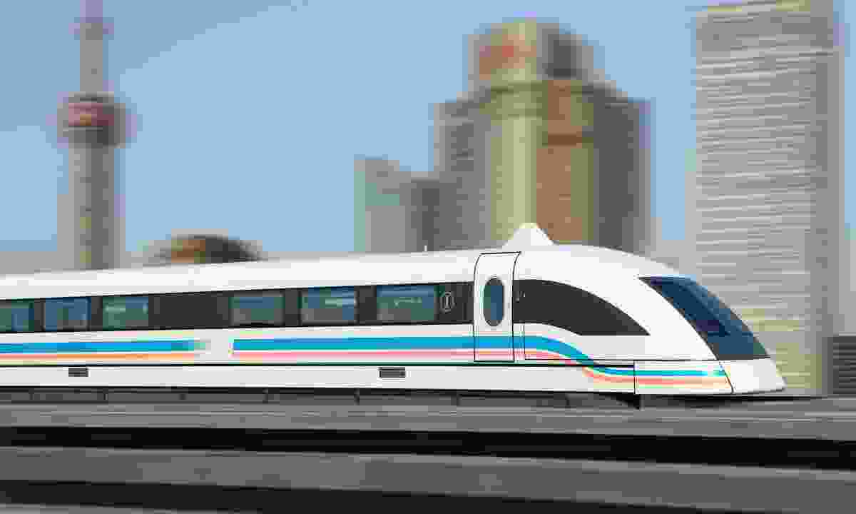 Maglev train speeding towards Shanghai (Dreamstime)