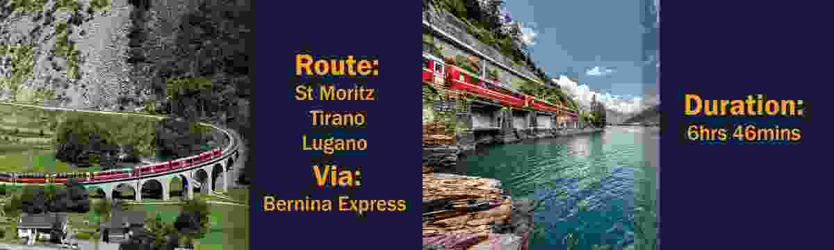Route: St Moritz – Tirano – Lugano, via the Bernina Express Duration: 6hrs 46mins (Switzerland Tourism Board)
