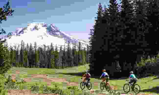 Mountain bike around Mt Hood to enjoy great views of the peak (www.hood-gorge.com)