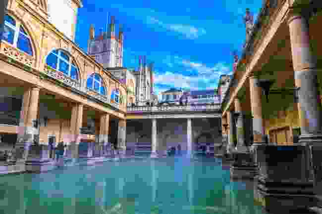 The Roman Baths steaming during winter, Bath, UK (Shutterstock)